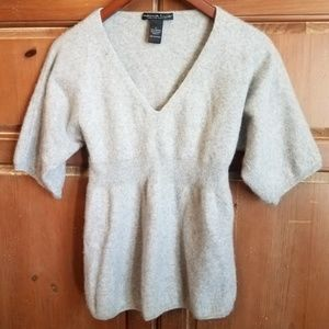 Marina Luna Sweaters - 2-Ply Cashmere V Neck 3/4 Sleeves Gray Sweater